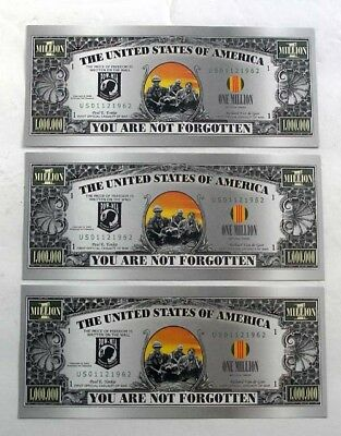 one million dollar bill - set of 3 - POW Vietnam veteran - you are not forgoten