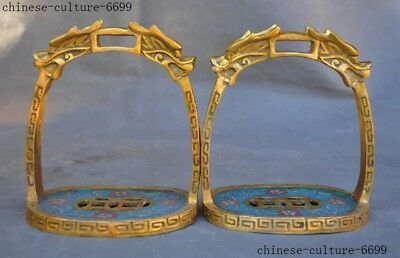 old China bronze Cloisonne Gilt Dragon head Horse Use Stirrup Saddle Statue Pair