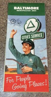 Vintage Cities Service Road Map Baltimore 1960