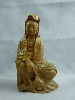 Chinese Carved Boxwood Guanyin Figure Mid 20th century - Fine Quality
