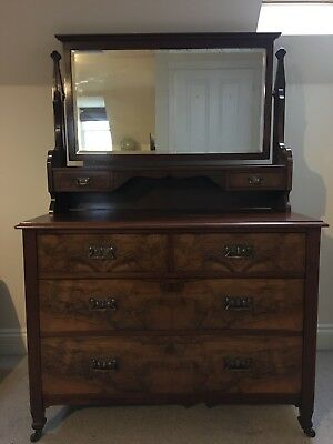 Edwardian Walnut and Mahogany Dressing Table With Drawers And Mirror