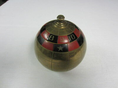 Vintage 1960 Mad Men Roulette Brass Round Cigarette Dispenser Holder Rare