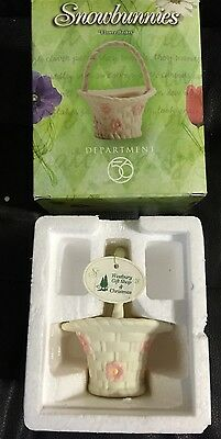 "New In Box Dept 56 Snowbunnies Flower Basket Creamy White Porcelain 3 3/4"" Tall"