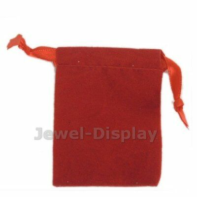 100 x Red Velvet Jewelry Packaging Satin Drawstring Ribbon Pouches 2x2.7 inch