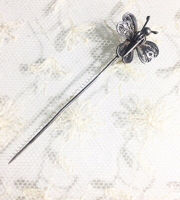 Antique Vintage Art Deco .800-.850 Silver Filigree Butterfly Stickpin Stick Pin
