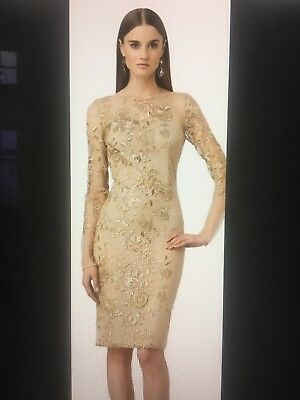 ELEGANT MOTHER OF the Bride Dress David Meister Knee Length Gold/Taupe Size  10