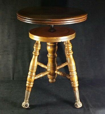 "Antique Piano Stool w Glass Feet Made By Chas Parker Co Meriden CT 19.25""x14.25"""