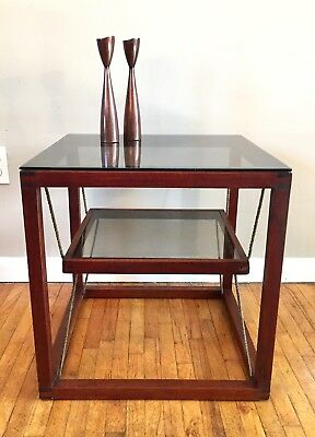 Unique Mid Century Danish Modern End Side Table Vintage Wood Smoked Glass Rope