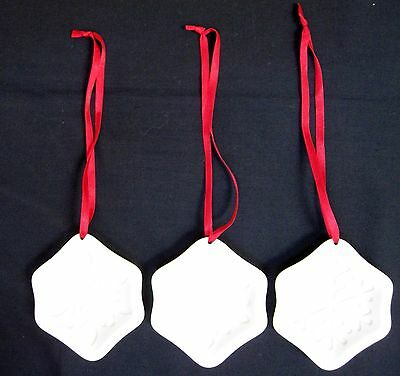 3 Longaberger Pottery Ceramic Snowflake Cookie Molds / Ornaments