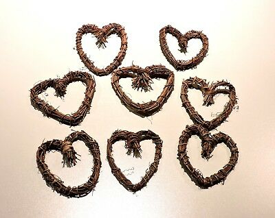 Small Heart Shaped 4 Inch Grapevine Wreaths Lot of 8 Natural Hearts