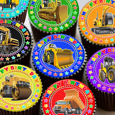Digger Bulldozer Building Trucks Happy Birthday Edible Cupcake Topper K80