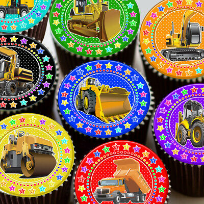 Digger Bulldozer Building Trucks Colourful Star Border Edible Cupcake Topper K78
