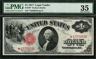 "1917 $1 Legal Tender FR-36* - ""Sawhorse"" ""STAR NOTE"" - Graded PMG 35 - Choice VF"