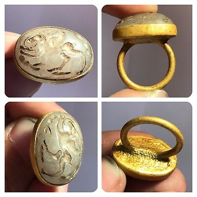 Ancient Rare Greek Stone Intaglio Carved Gold Gilding Ring #sh721
