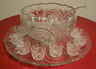 Large Vintage Antique Eapg Glass Punch Bowl 12 Cup Glass Ladle & Tray Party Set