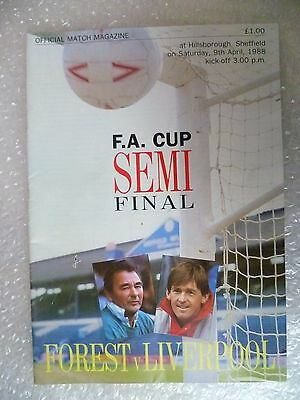 1988 FA Cup Semi FINAL NOTTINGHAM FOREST v LIVERPOOL, 9th April (Printed Signed)