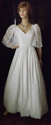 70s vtg angel wing batwing sleeves all lace wedding dress, SZ S-M?