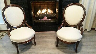Pair of Victorian Carved MahoganyParlor Chairs