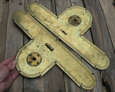 Antique Large Pair of Brass Door Finger Push Plates Space for Door Knobs
