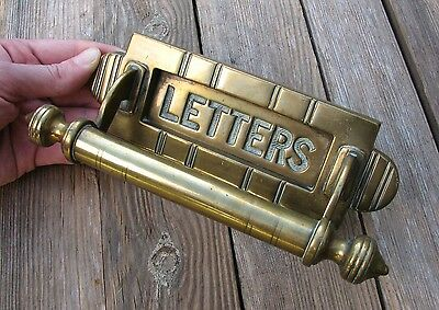 Antique Solid Brass Letter Box Plate / Mail Slot with Door Handle Pull Mailbox
