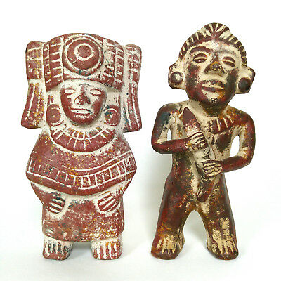 Pair of Vintage Mexican Statue Aztec Figures Mayan Inca Clay Figurines Mexico