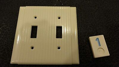 1 Vintage Bakelite Ivory Ribbed Deco Bryant Double Light Switch Plate Cover BB1