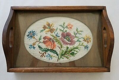 Vintage Wood Tray with Embroidered Floral Sampler Under Glass