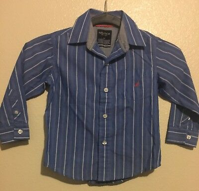 Nautica Toddler Boys Shirt Clothing - Size 3T blue/white Free Shipping