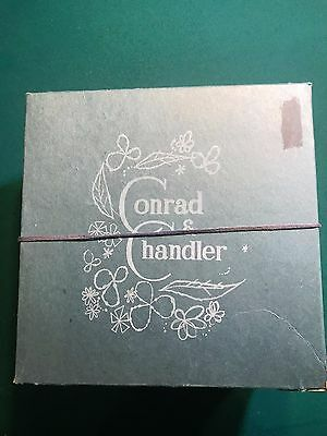Vintage  Conrad & Chandler square hat box blue