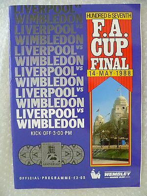 1988 FA Cup FINAL Programme- LIVERPOOL v WIMBLEDON, 14 May (Excellent Condition)