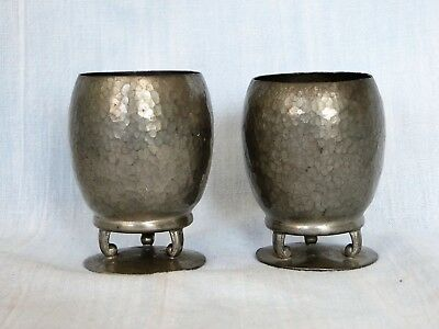 HAND HAMMERED ARTS & CRAFTS MISSION PEWTER VASES by GALATOFF