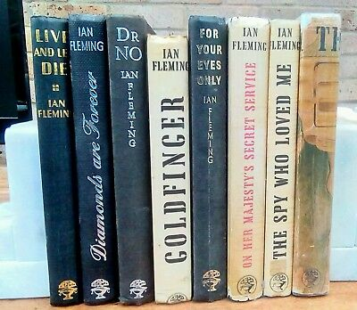 Collection of 8 Ian Fleming James Bond, Jonathan Cape, reprints and ex-library