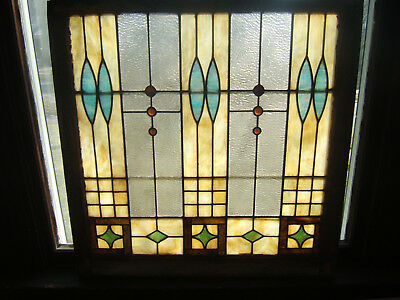 """Vintage Antique Stained Glass Window W/ Red, Blue, Green, Gold, Opaque 32"""" X 32"""""""