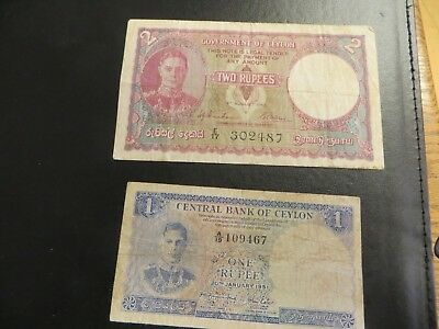 World Money Central Bank of Ceylon & Government of Ceylon Bank Notes