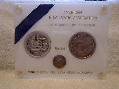 1975 ANA 84th American Numismatic Convention Three Medal Set Silver&Bronze #401