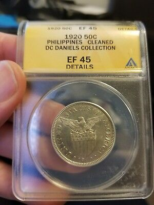 1920 Philippines 50 Centavos ANACS EF 45 Details - Cleaned