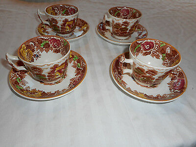 Enoch Woods Woodsware Multi-colored Cup & Saucer Lot of 4