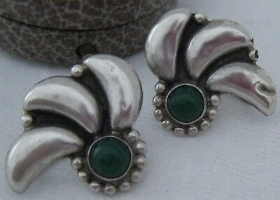 A Pair Of Vintage Art Nouveau Style Earrings Set With Green Agates or Chalcedony