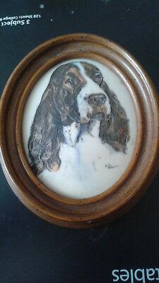 Marvetti Cultured Ivory Engraving of Dog               my  no2