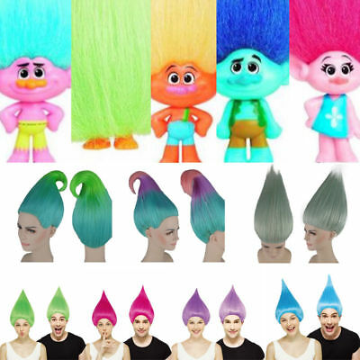 Trolls Poppy Cosplay Wig Cartoon Characters Branch Elf/Pixie Hairpiece Unisex