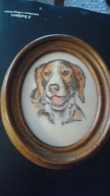 Marvetti Cultured Ivory Engraving of Dog               my  no5