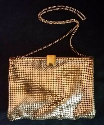 VTG WHITING DAVIS Purse Evening Bag Gold Metal Sequin Signed 5.5x4""