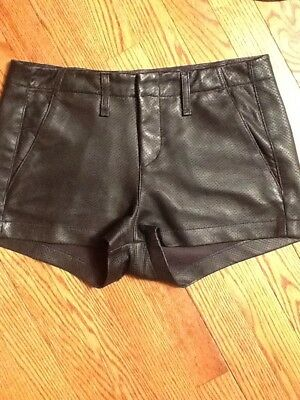 Rag & Bone Black Lamb Leather 25 Flat Front Shorts Two Pockets Womens