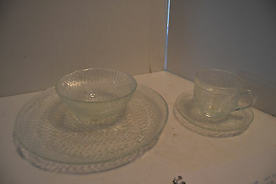 Vintage Luminarc Arcoroc France Weave Plate Cup Saucer Bowl Glass LOt of 4