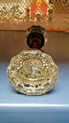 Antique Vintage 12 Point Glass Door Knob Set Brass