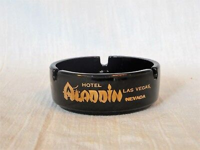 Vintage ALADDIN HOTEL CASINO Black Glass Ashtray Las Vegas