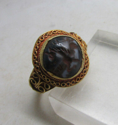 Late Rome Early Byzantine Gold Ring With Warriors Horse Intaglio