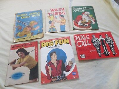 Lot of 5 Vintage 1940's 50's Comic Books Male Call, Camp Comics, Wash Tubbs #53