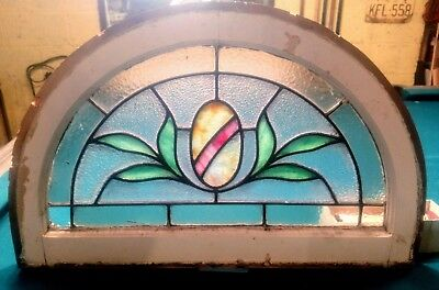 Antique Arch Top Stained Glass Window Fanlight Lunette Transom Victorian Leaded