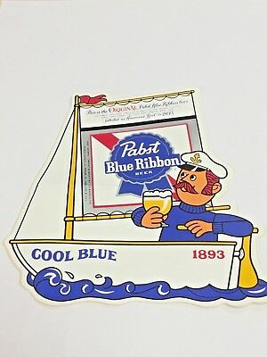 PABST BLUE RIBBON BEER, Sail Boat Guy, COOL BLUE, STICKER, AMERICAS BEST 1893